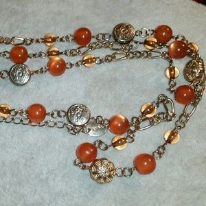Icing Jewelry - Icing Gold, Multi-Strand, Faux Amber Station Neckl